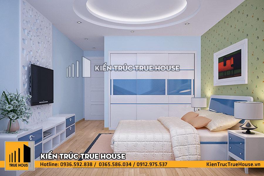Phòng ngủ màu xanh cho trẻ